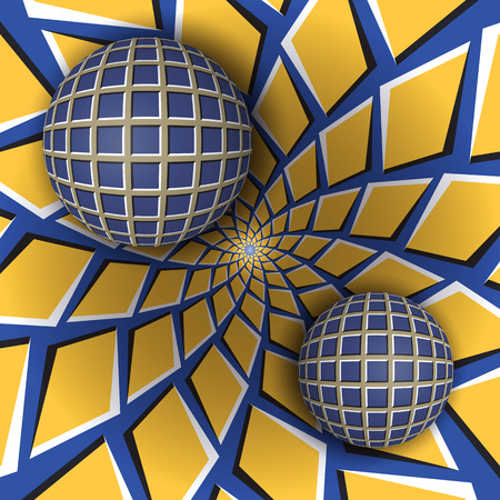 Optical illusion illustration. Two balls are moving on rotating blue background with yellow quadrangles. Abstract background in a surreal style.