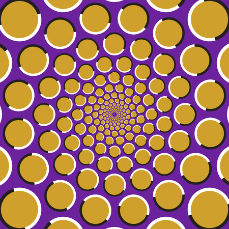 Optical illusion background. Golden circles are moving circularly from the center on purple background. Polka dot background. Illustration