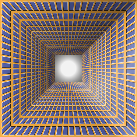 Tunnel with checkered walls. Abstract background with the optical illusion of movement.
