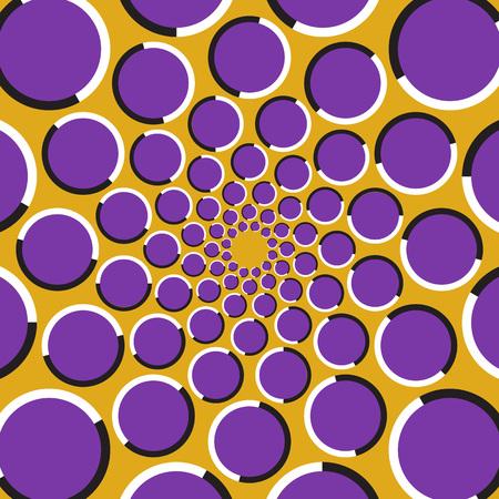 Optische illusie achtergrond. Paarse cirkels bewegen cirkelvormig naar het midden op een gouden achtergrond. Polka dot achtergrond. Vector Illustratie