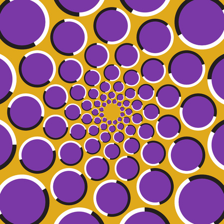 Optical illusion background. Purple circles are moving circularly toward the center on golden background. Polka dot background.