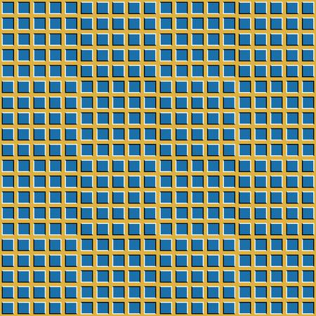 Geruite achtergrond met optische illusie van beweging. Convexe vierkanten bewegen visueel in tegengestelde richtingen. Optische illusie naadloze achtergrond. Stock Illustratie