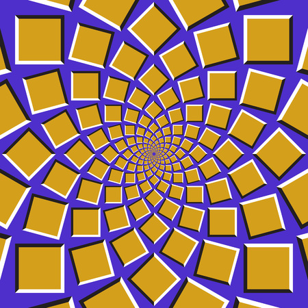 Optical illusion background. Golden squares are moving circularly toward the center on blue background. Abstract background in form of concentric web. Illustration