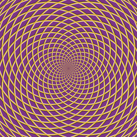 Concentric optical illusion background. Turbinated checkered background.