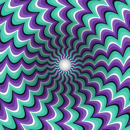 Meandering strips funnel. Rotating hole. Motley moving background. Optical illusion illustration. 矢量图像