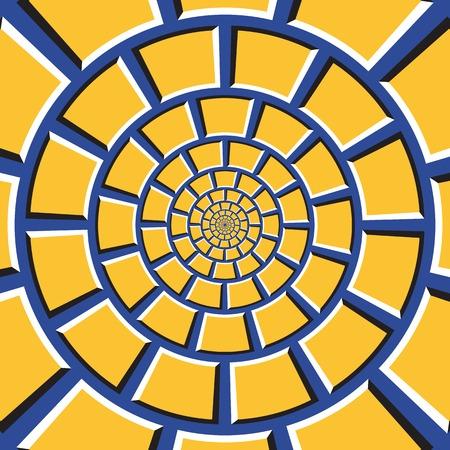 Optische illusie achtergrond. Gele vierhoeken bewegen circulair naar het midden op een blauwe achtergrond. Geruite achtergrond in de vorm van concentrisch web.