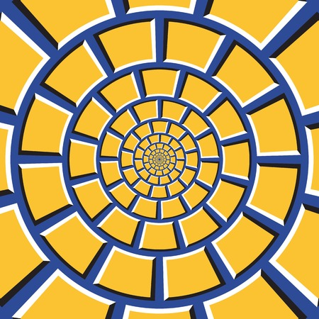 Optical illusion background. Yellow quadrangles are moving circularly toward the center on blue background. Checkered background in form of concentric web. Illustration