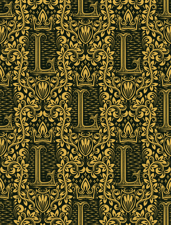 old fashioned: Damask seamless pattern repeating background. Gold green floral ornament with L letter and crown in baroque style. Antique golden repeatable wallpaper.