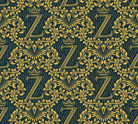 old fashioned: Damask seamless pattern repeating background. Gold blue floral ornament with Z letter and crown in baroque style. Antique golden repeatable wallpaper.