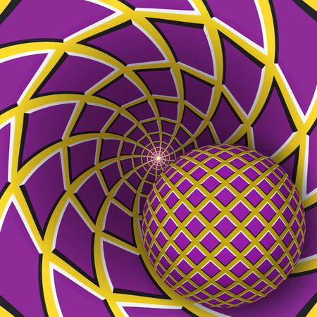 Optische illusieillustratie. Een bal beweegt op roterende gele achtergrond met paarse vierhoeken. Abstracte achtergrond in een surrealistische stijl.