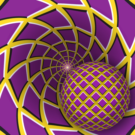 Optical illusion illustration. A ball is moving on rotating yellow background with purple quadrangles. Abstract background in a surreal style. Illustration