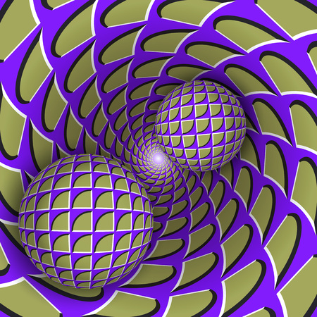 Visual illusion illustration. Two balls are moving on rotating mottled blue purple green hole. Abstract background in a surreal style.