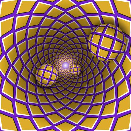 Visuele illusie illustratie. Drie geruite ballen bewegen uit het geruite gouden paarse gat. Abstracte fantasie in een surrealistische stijl. Stock Illustratie