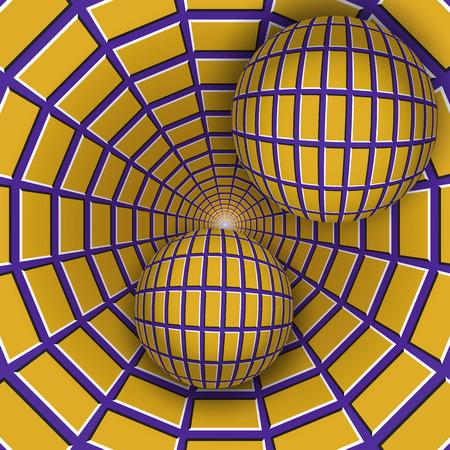 Visuele illusie illustratie. Twee ballen bewegen op roterende paarse trechter met gele vierhoeken. Abstracte fantasie in een surrealistische stijl.