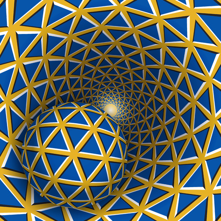 Visual illusion illustration. A ball is moving on rotating yellow funnel with blue triangles. Abstract fantasy in a surreal style.