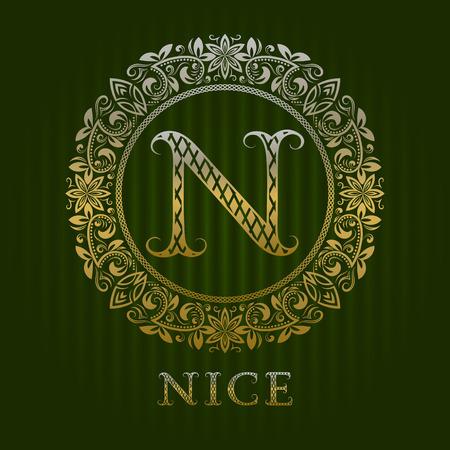 Golden N banner.