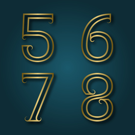 7 8: Five, six, seven, eight shiny golden numbers with shadow. Outline font with flourishes in art deco style.