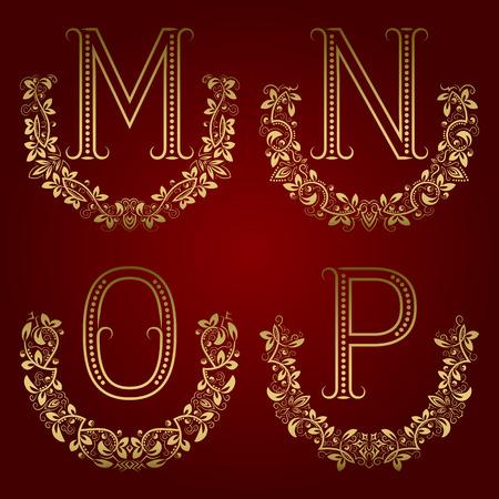 M, N, O, P vintage monogrammen in bloemenkransen. Set van gouden letters in lauwerijen.