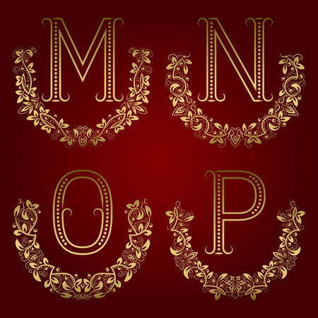 M, N, O, P vintage monograms in floral wreaths. Set of golden letters in laurels. Illustration