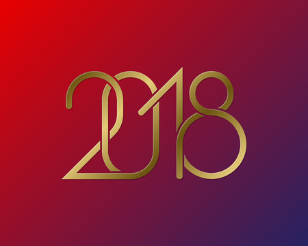 Plexus of golden numbers 2018 on gradient background. New Year greeting card design.