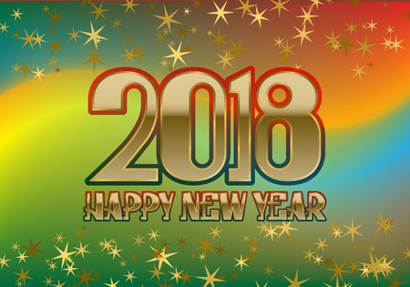 2018 Happy New Year greeting card template on colorful blended background with glittering stars. Çizim