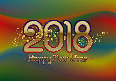 2018 Happy New Year greeting card template on colorful blended background with glittering stars. Illustration