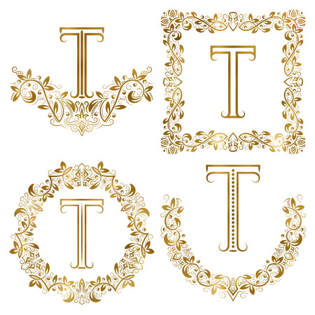 Golden T letter ornamental monograms set. Heraldic symbols in wreaths, square and round frames.