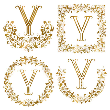 Golden Y letter ornamental monograms set. Heraldic symbols in wreaths, square and round frames. Çizim