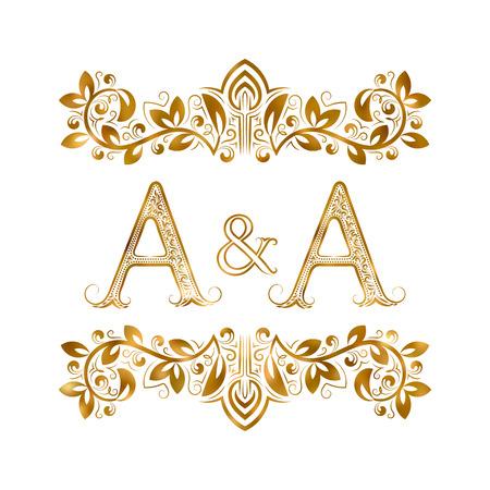 A en A vintage initialen embleem symbool vector illustratie Stock Illustratie
