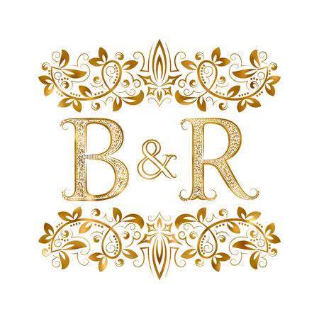 BとRヴィンテージイニシャルエンブレムシンボルベクトルイラスト  イラスト・ベクター素材