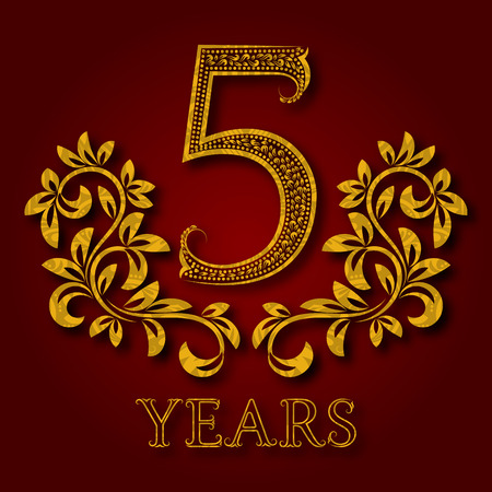 Five years anniversary celebration patterned logotype. 5th anniversary vintage golden logo with shadow.