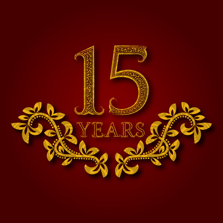 Fifteen years anniversary celebration patterned logotype. Fifteenth anniversary vintage golden logo with shadow.