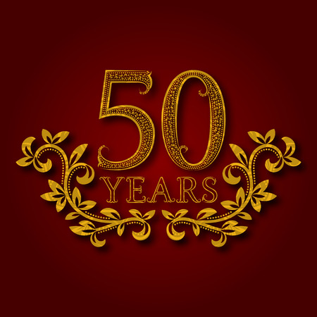 Fifty years anniversary celebration patterned logotype. 50th anniversary vintage golden logo with shadow. Illustration