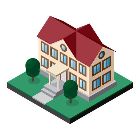 芝生と木々が植えた2階建ての建物。様々なアプリケーションの設計のための等角ベクトル。