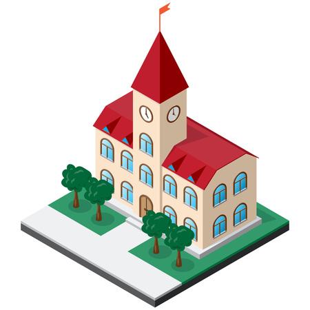 Budynek ratusza z zegarem na wieży otoczony trawnikiem z drzewami. Izometryczny wektor do projektowania różnych aplikacji. Ilustracje wektorowe