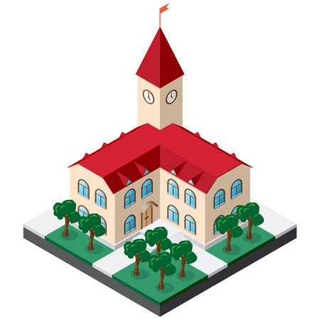 Two-story townhouse building with clock on the tower surrounded by lawn with trees and sidewalks. Isometric Vector for design of various applications.