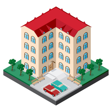 Isometric multistory building courtyard with benches, cars, trees and lawn. Vector illustration for design of various applications. Illustration