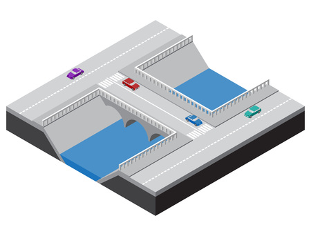 Isometric bridge across a river with roads, sidewalks and cars. Vector illustration for design of various applications.