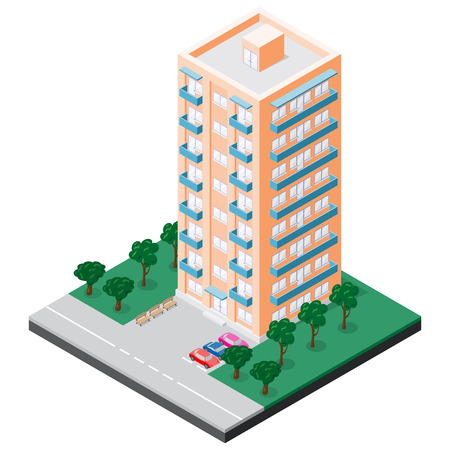 Isometric multistory building with balconies which has benches, cars, sidewalk and trees in courtyard. Vector illustration for design of various applications. Illustration
