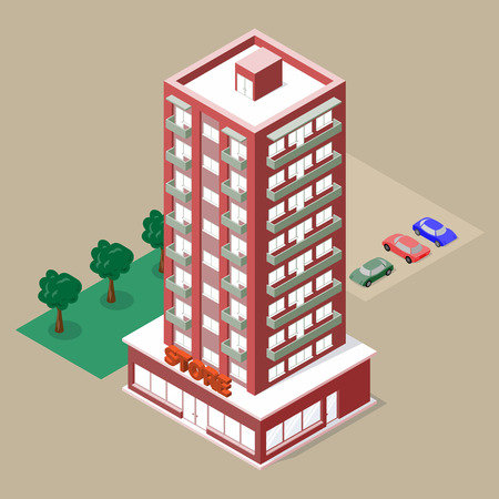 Isometric multistory building with store and balconies. There are cars, lawn and trees beside this. Vector illustration for your design. Illusztráció