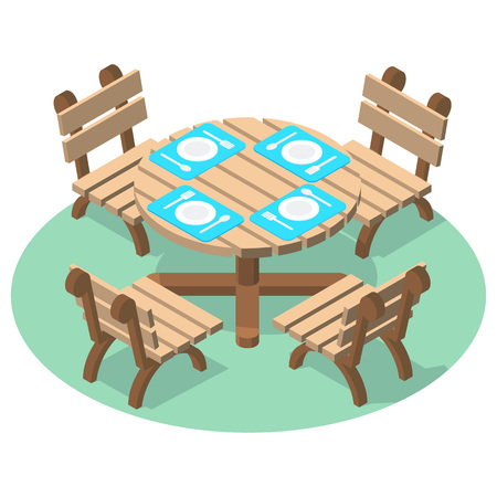 Isometric furniture - dinner table with cutlery and four chairs. Wooden table and chairs for cafe or restaurant.
