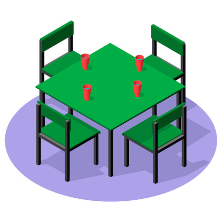 Isometric interior furniture - dinner table with drinks and four chairs. Metal and plastic table and chairs for cafe or restaurant.