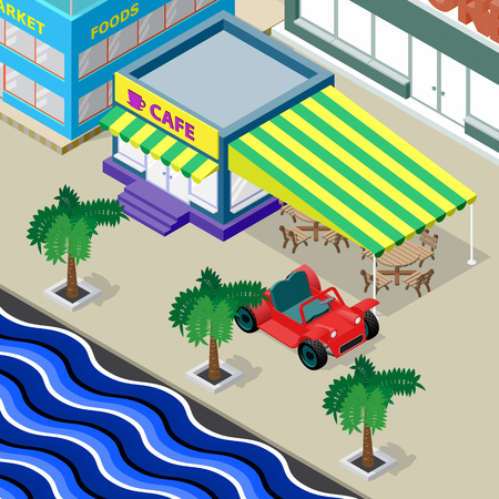 Cafe, palm trees, car and urban landscape on the promenade. Isometric vector illustration.