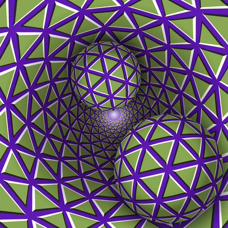 Visual illusion illustration. Two balls are moving on rotating purple funnel with green triangles. Abstract fantasy in a surreal style.