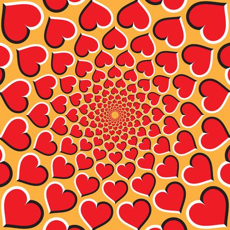 Optische illusie achtergrond. Rode harten bewegen cirkelvormig naar het midden op een gouden achtergrond. Rode hartenachtergrond.