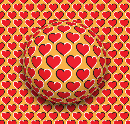 Ball with a hearts pattern rolling along the red hearts surface. Abstract vector optical illusion illustration. Romantic background and tile of seamless wallpaper. Illustration