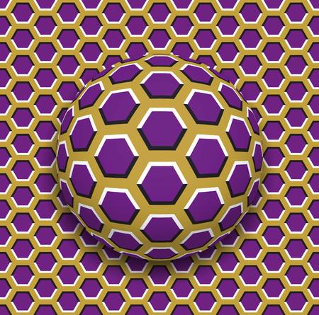 육각형 표면을 따라 굴러 다니는 육각형 패턴이있는 공. 추상적 인 벡터 착시 그림입니다. 잡색 배경 및 원활한 벽지의 타일입니다. 일러스트