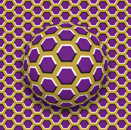 Ball with a hexagons pattern rolling along the hexagons surface. Abstract vector optical illusion illustration. Motley background and tile of seamless wallpaper. Illustration