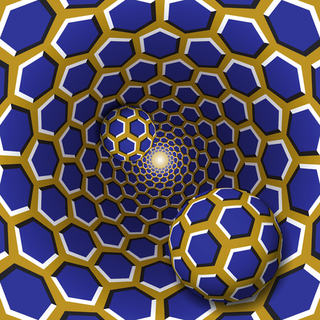 Optical illusion illustration. Two balls with a hexagons pattern are moving on rotating blue hexagons golden funnel. Abstract fantasy in a surreal style. Vettoriali