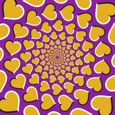 Optische illusie achtergrond. Gouden harten bewegen cirkelvormig vanuit het midden op een paarse achtergrond. Gouden hartenachtergrond.